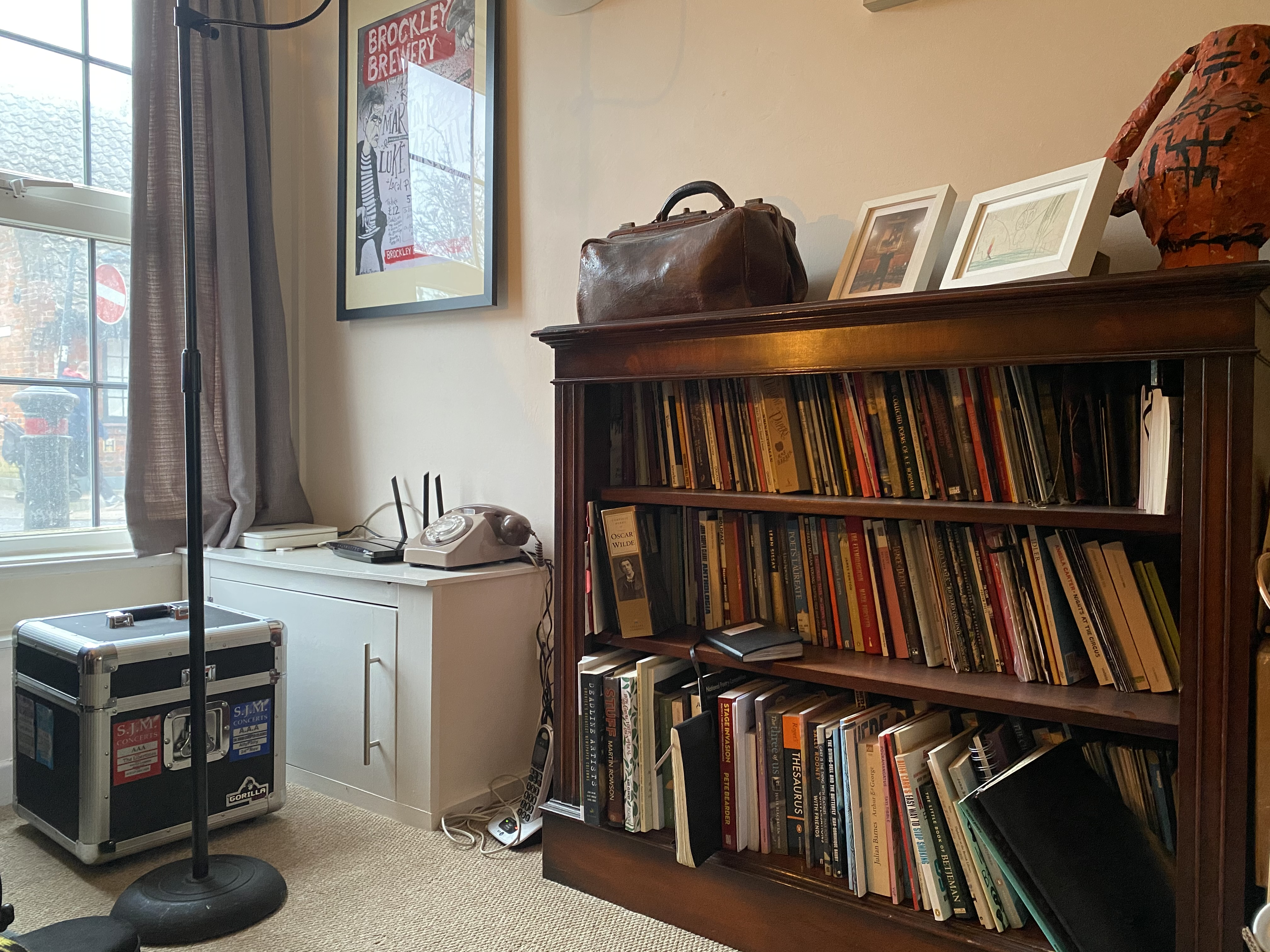 Photograph of bookshelf in Luke Wright's cottage