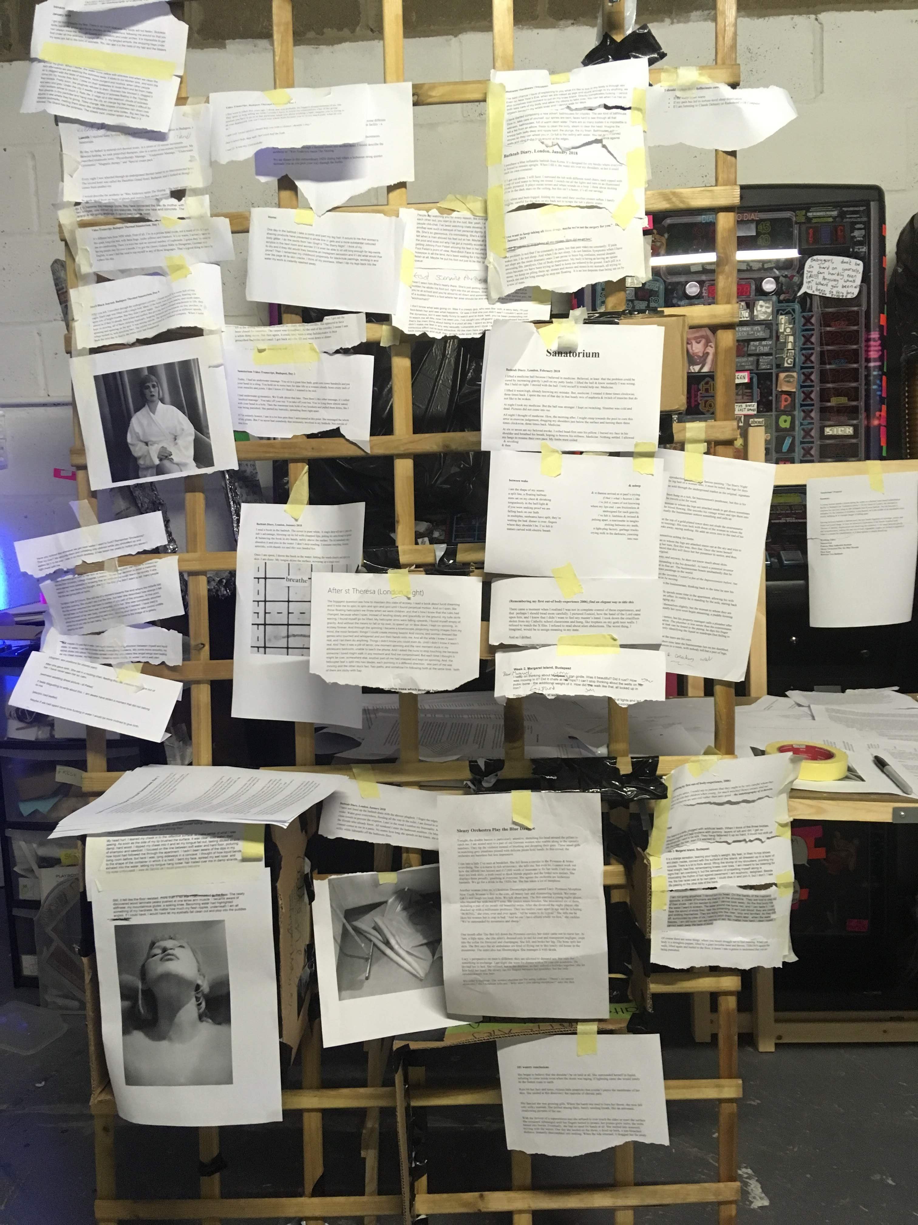 Photograph of Abi Palmer's editing process for Sanatorium
