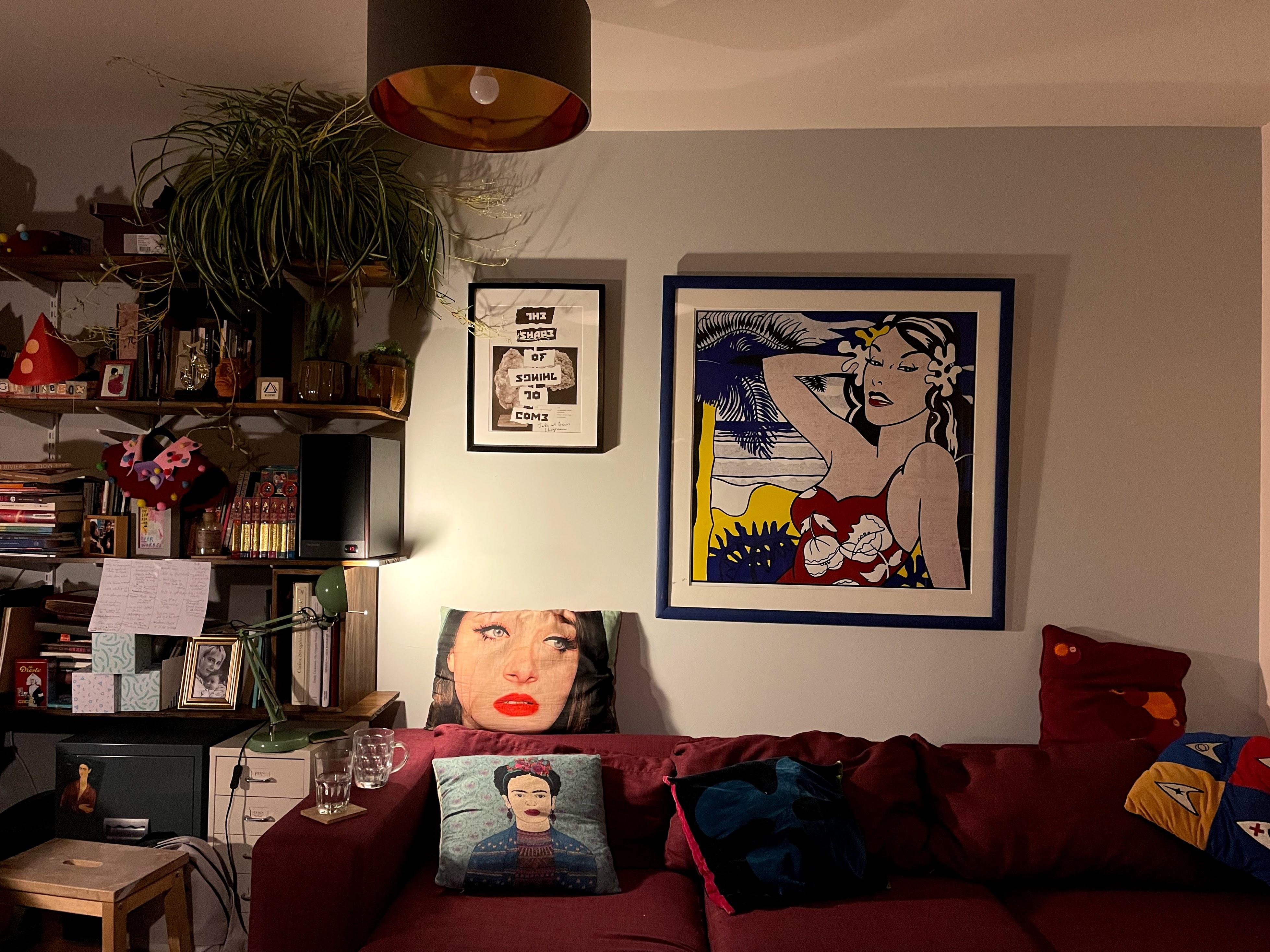 Photograph of sofa in Abi Palmer's flat